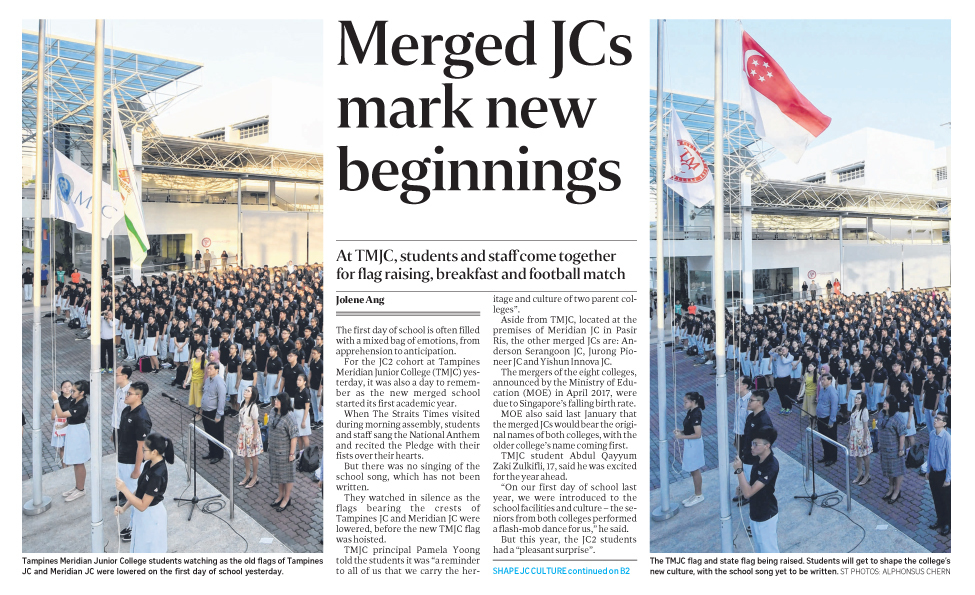 Merged JCs mark new beginnings pg B1 (The Straits Times).JPG