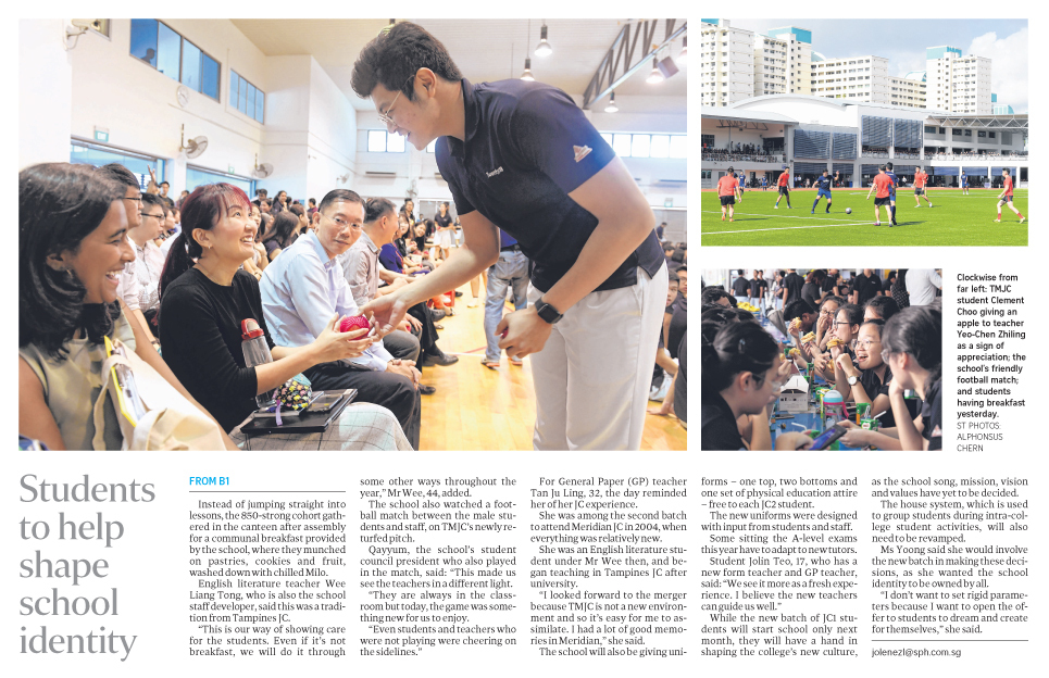 Students to Help Shape School Identity pg B2 (The Straits Times).JPG